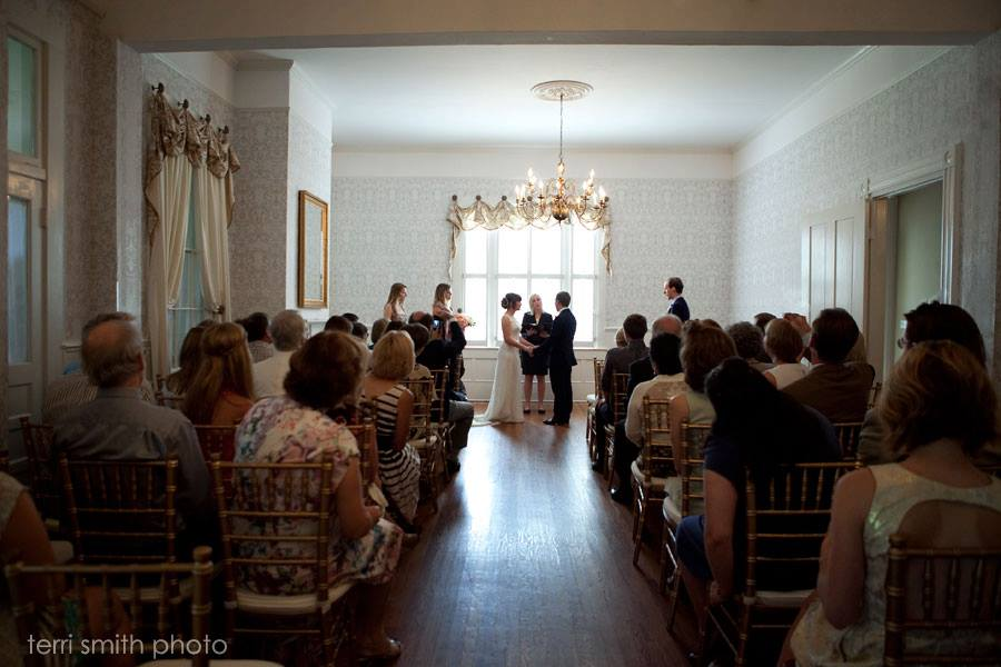 A picture Terri Smith took of me officiating Liz and James' wedding ceremony at the Tallahassee Garden Club.