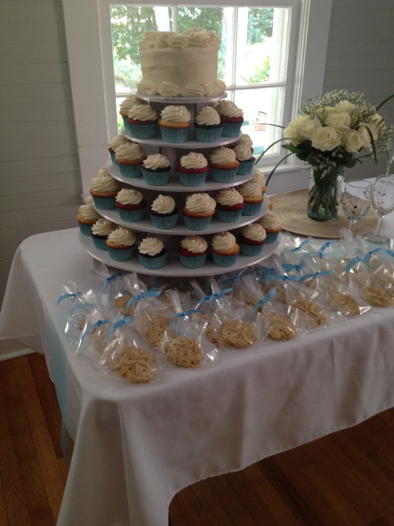 Cupcake cake and sea shell cookies by Cakes by Alisha