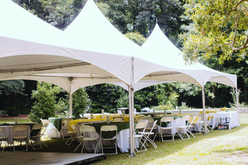 Tents, tables and chairs, and dance floor can be setup next to the tree for a wedding at Lichgate on High Rd Photo by Anna Hall Photogrpahy