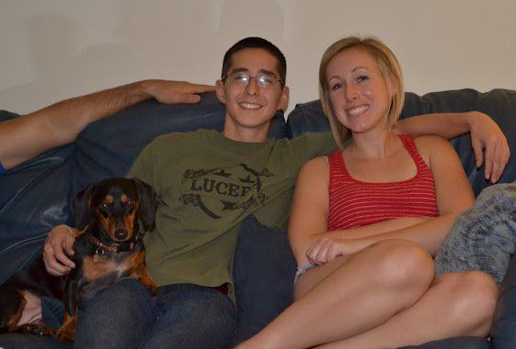 Ryan, me, and Lola relaxing on Christmas
