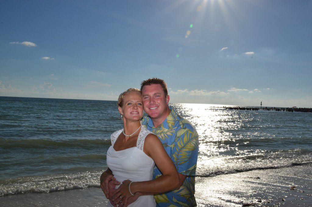 Garret and Jen at their impromptu Honeymoon Island wedding. Photos by George Sr.