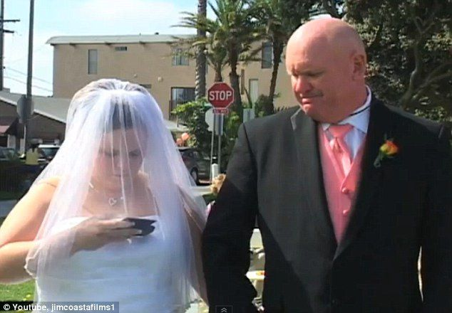 Put your cell phone away while walking down the isle!! http://www.dailymail.co.uk/news/article-2055503/OMG-Bride-starts-texting-wedding-ceremony-lol.html