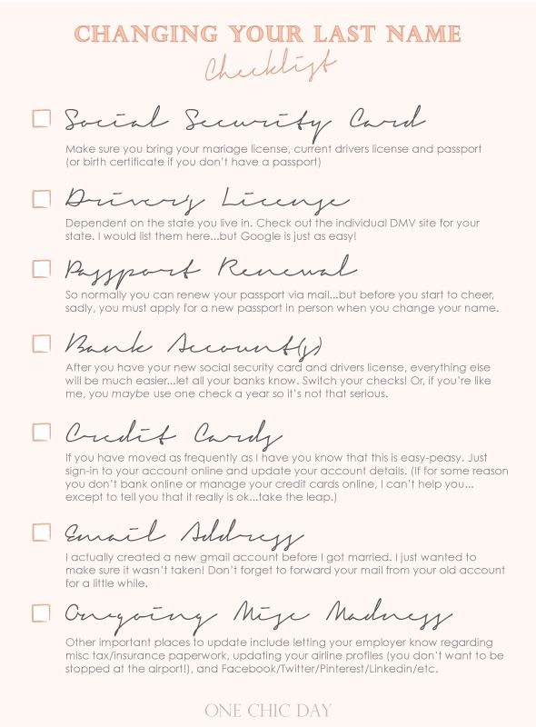 Changing your last name checklist