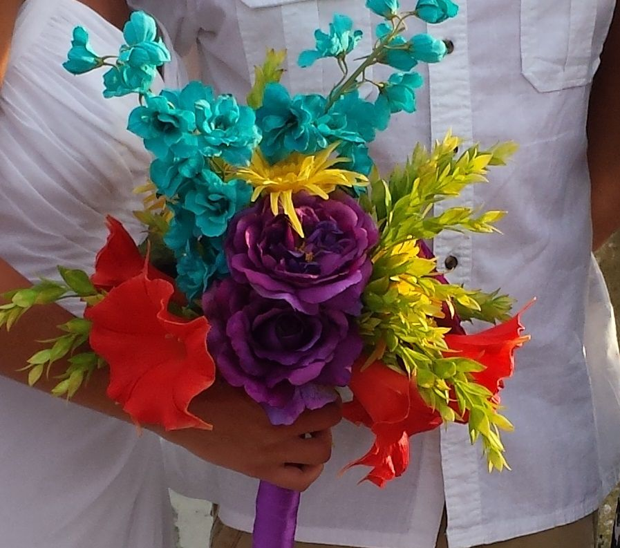 Julia's colorful flower bouquet that she brought down from Indiana