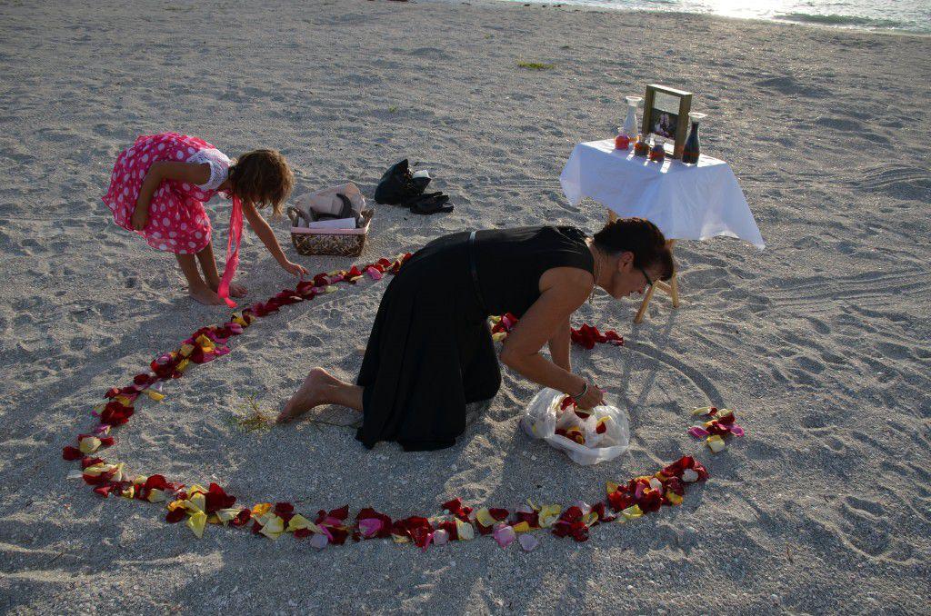 Getting ready for the wedding on Sand Key Beach.