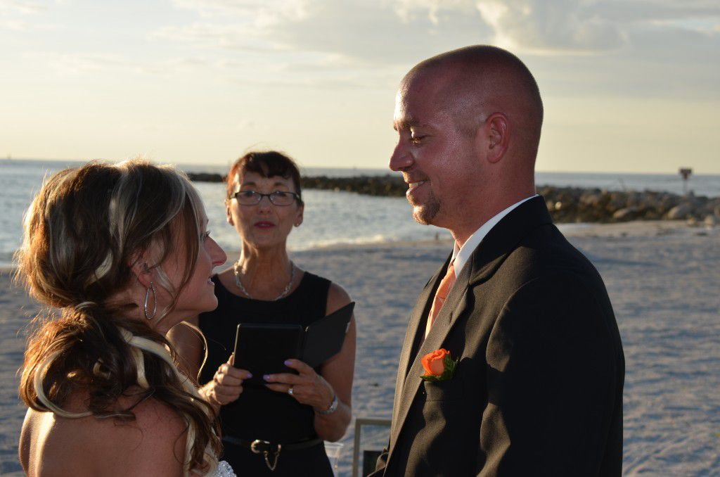 Officiating Melissa and Mark's Sand Key Park in Clearwater wedding ceremony. You can see that they truly love each other!!