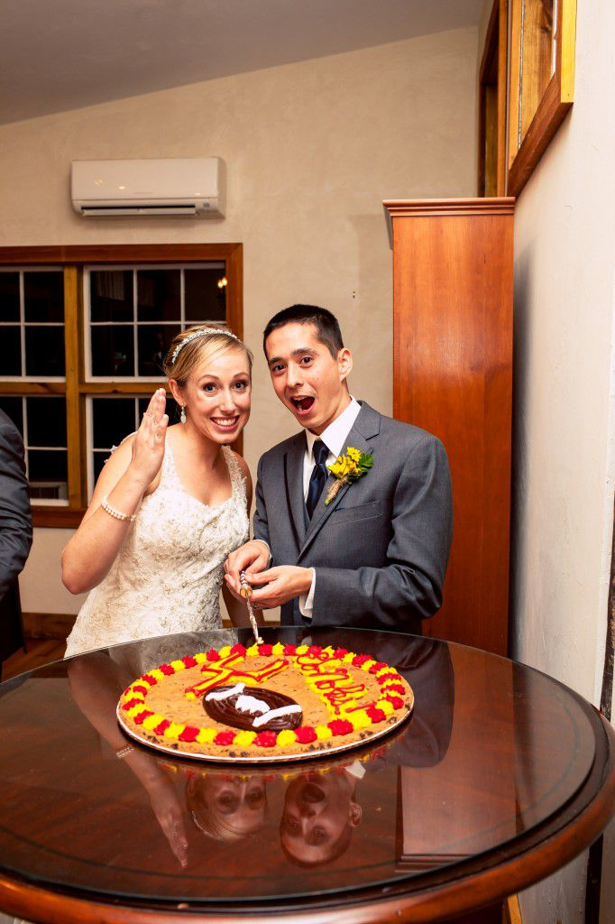 Here's a picture of me and Ryan on our wedding day. This is one way we embraced the fact that our wedding fell on the Clemson game. Go Noles :)