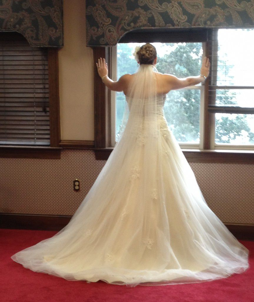 Hollie wore this dress for the ceremony and pictures and had another dress for the reception.