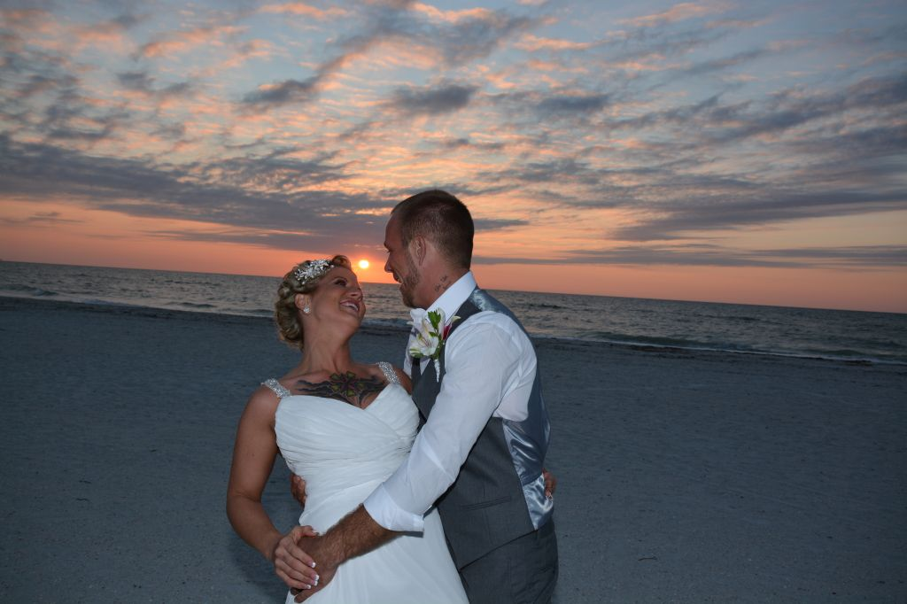 A perfect sunset for a Clearwater beach wedding,