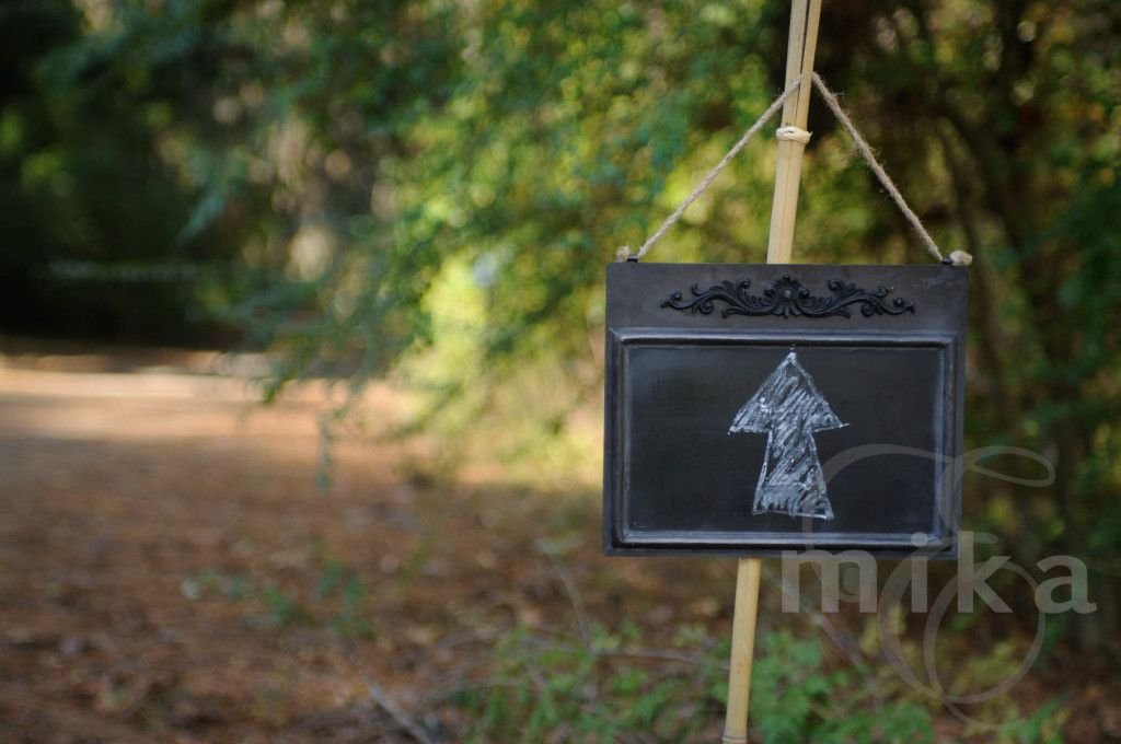 Signs lead the way to the wedding ceremony