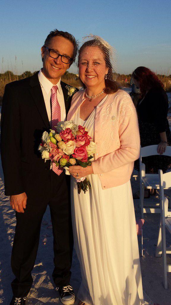 at their Honeymoon Island wedding ceremony