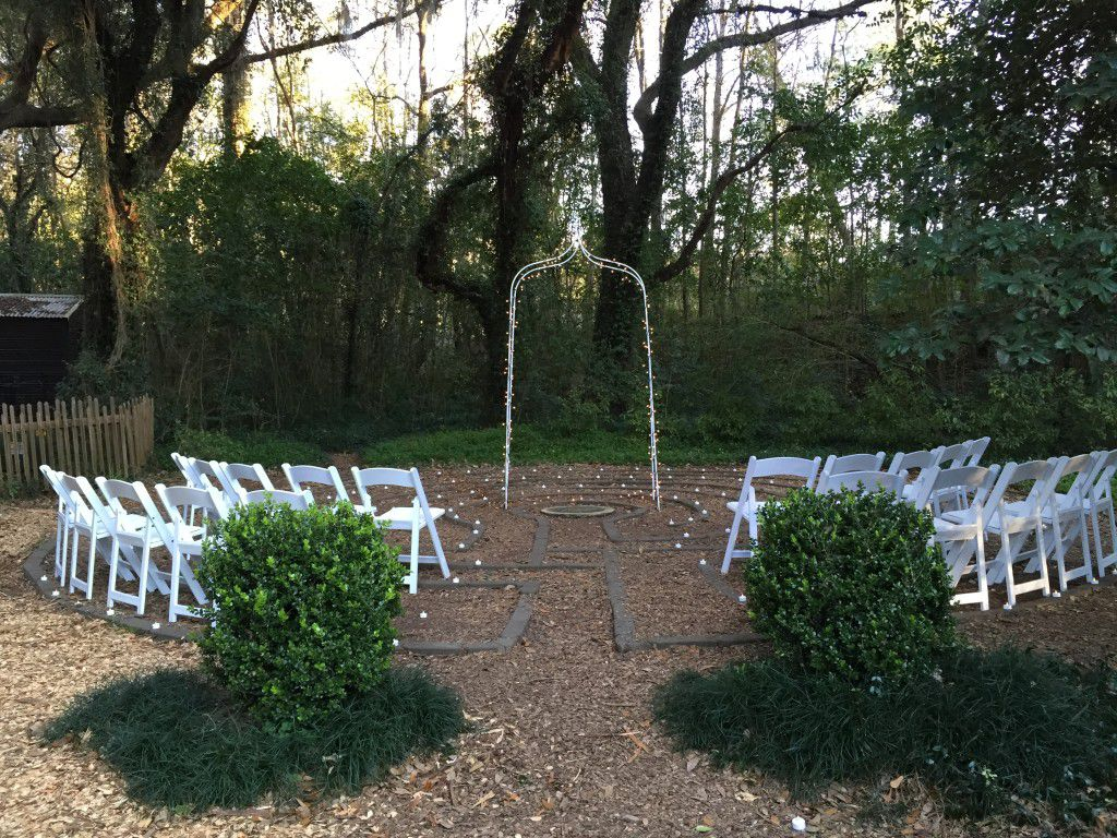 Wedding ceremony setup at Lichgate on High Road Tallahassee