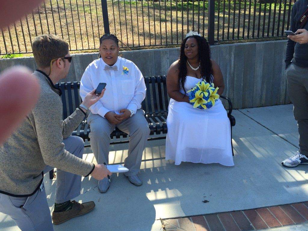 Tomeshia and Kimberly being interview by the Tallahassee Democrat