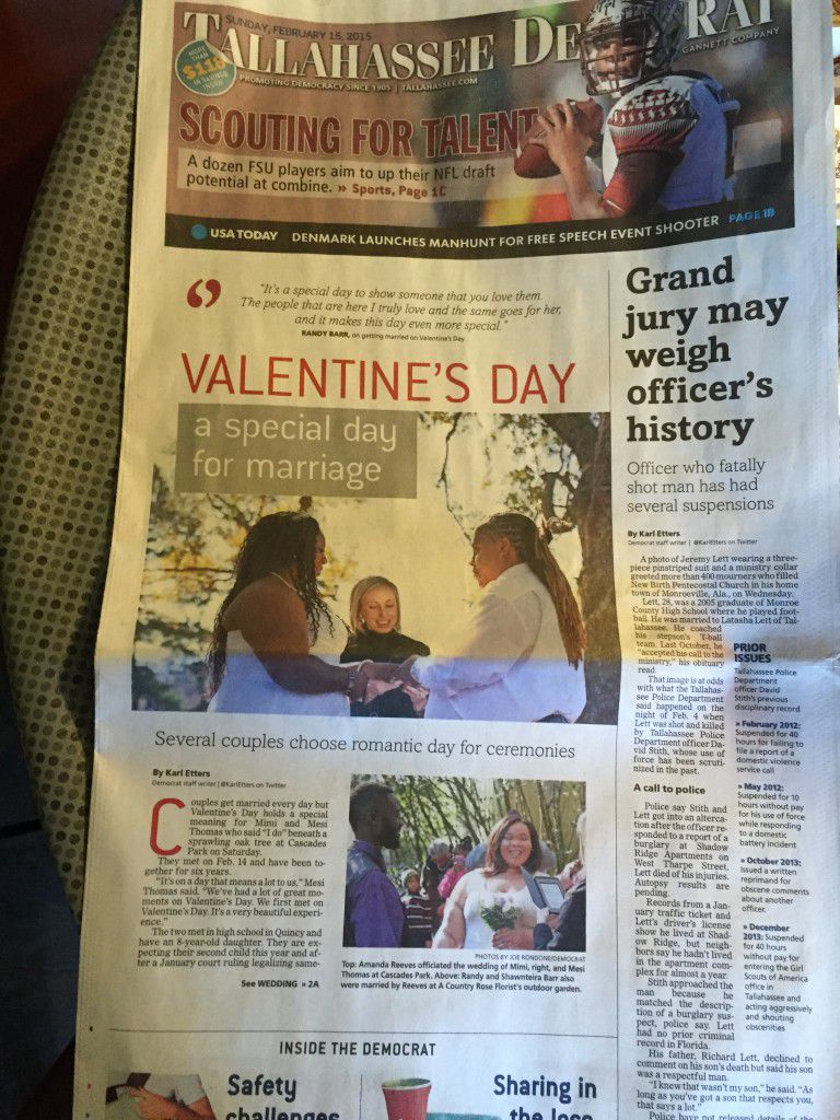 Tallahassee Valentines Day weddings made FRONT page news
