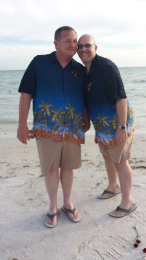 Beautiful day for Mark and David's Honeymoon Island wedding cermeony