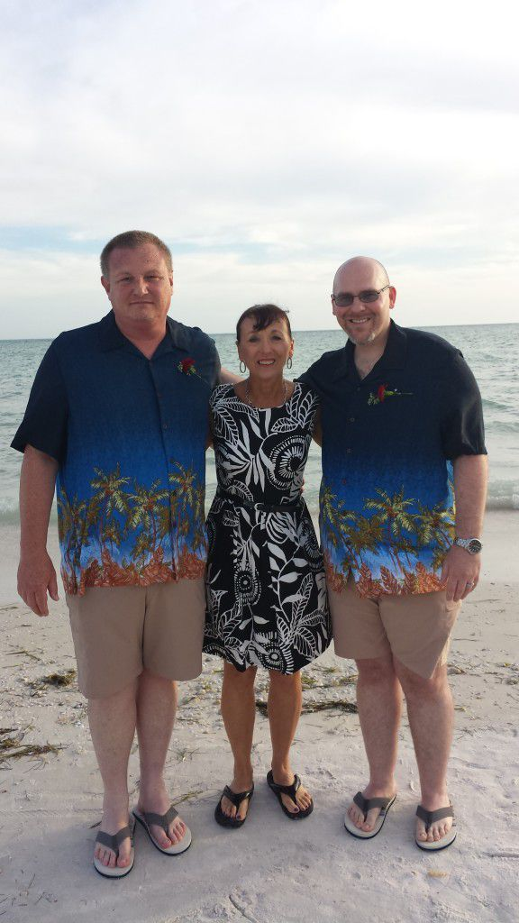 Me with the happily married David and Mark on Honeymoon Island in Dunedin Florida