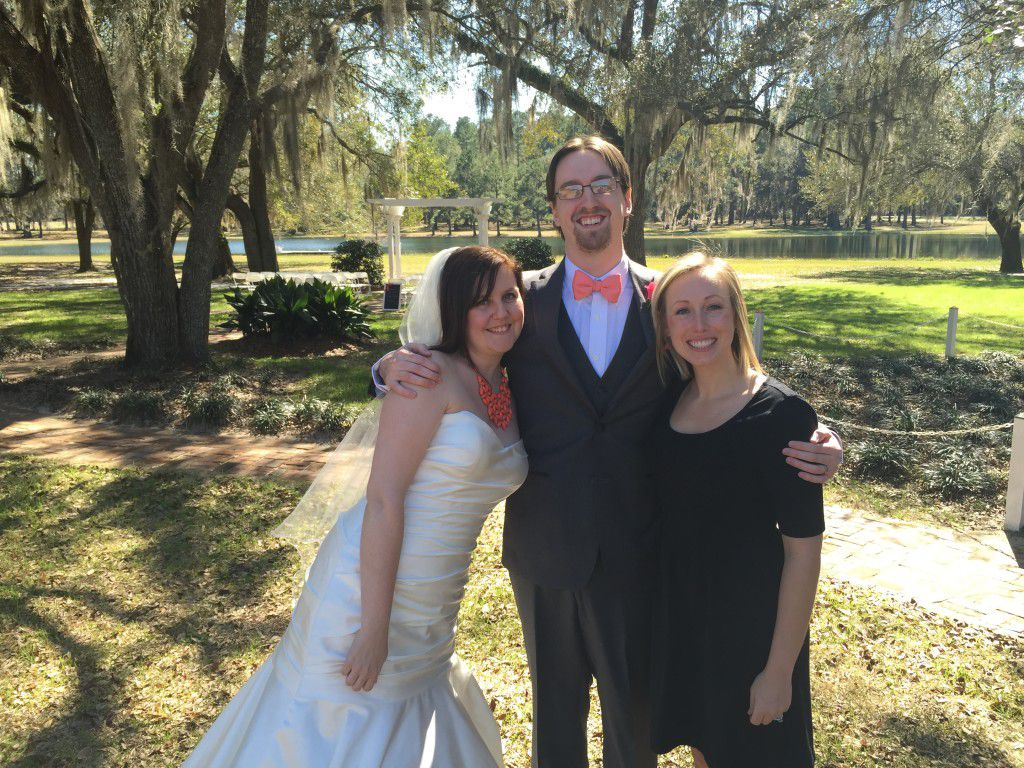 Me with the newly married Danielle and Andrew at their Tallahassee Wedding at The Retreat at Bradley's Pond