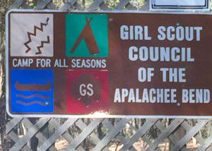 This is the sign you see when entering the Girl Scout Camp.