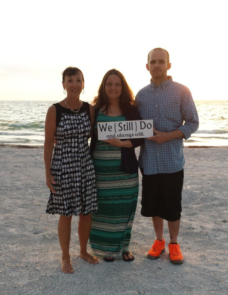 Me with Roxanne and Jimmy at their 20 year Surprise Vow Renewal on Belleair Beach Florida