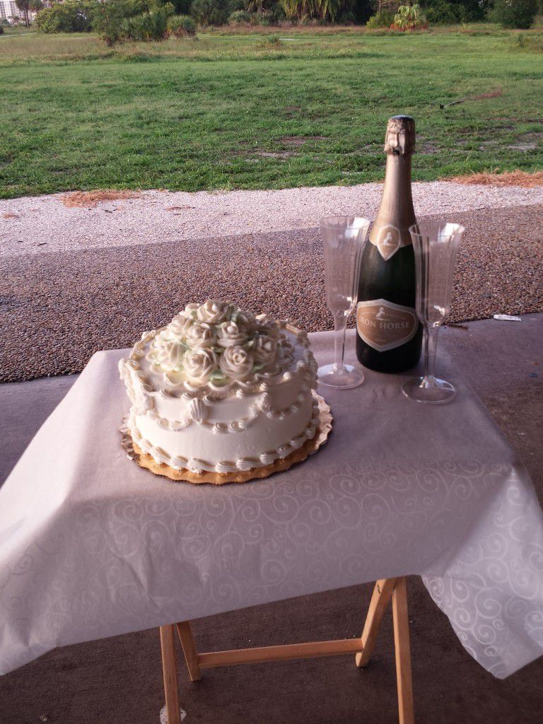 The cake and champagne toast that I put together for the newlyweds