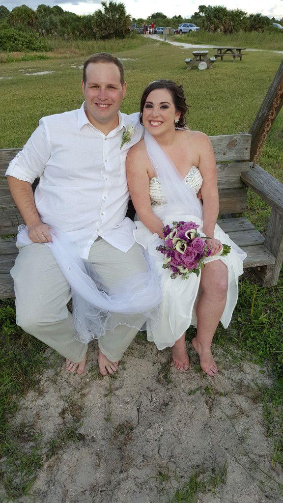 The newlyweds at their Honeymoon Island wedding ceremony
