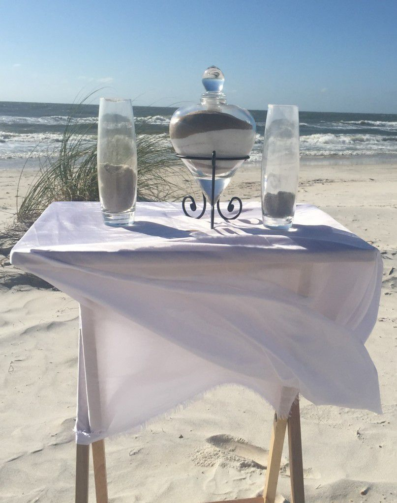 Unity sand ceremony is perfect for a beach wedding. Sand from the beach where the wedding is can be used.