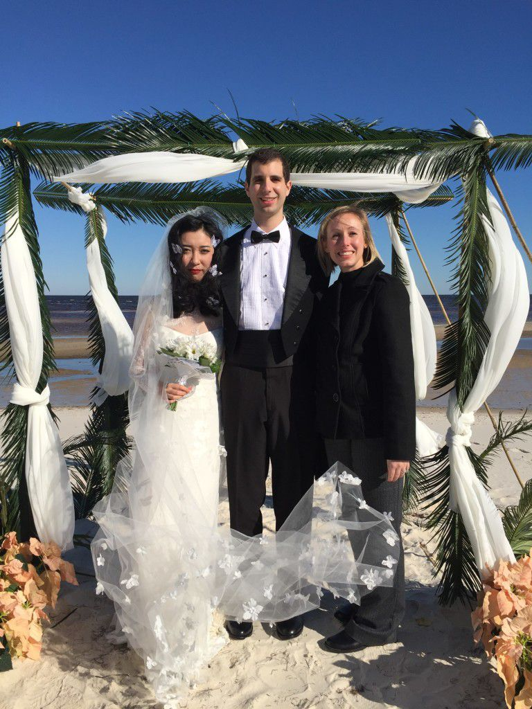 Me with the newlyweds at their chilly Panacea wedding ceremony. Congratulations Michael and Willow!!!