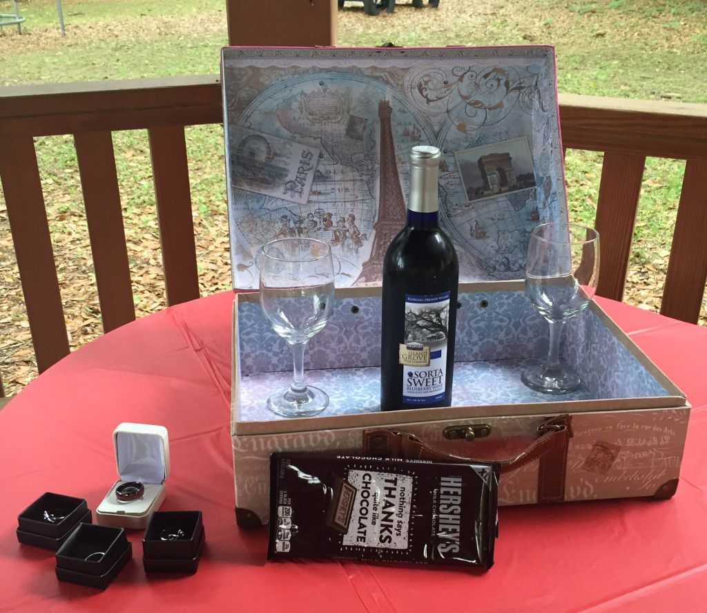 Unity chocolate sharing and love wine box ceremony setup