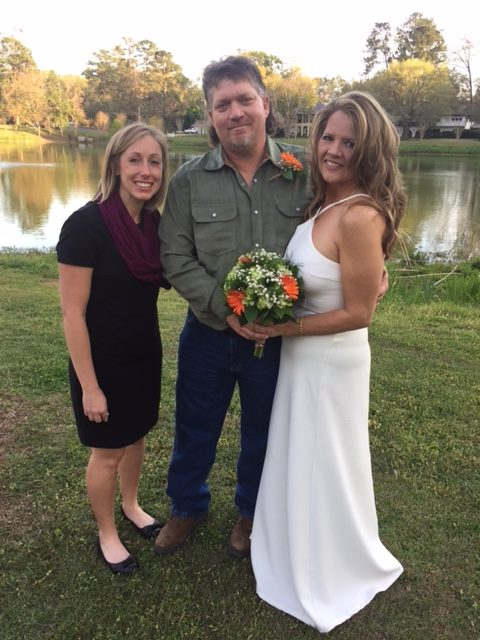 Officiant Amanda with the newly married Amy & Ron